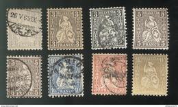 Lot Timbres Suisses Helvetia Assise 1862 Oblitérés - 1862-1881 Helvetia Assise (dentelés)