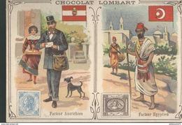 Chromo  Chocolat Lombart - Facteur Autrichien - Facteur Egyptien - Lombart