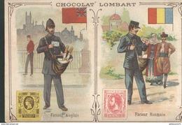 Chromo  Chocolat Lombart - Facteur Anglais - Facteur Roumain - Lombart