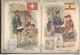 Chromo  Chocolat Lombart - Facteur Suisse - Facteur Espagnol - Lombart