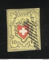 10 Rappen Suisse Rayon II 1850 Très Bon état - Oblitération Grille - 1843-1852 Correos Federales Y Cantonales