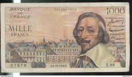 1000 Francs Richelieu 2-12-1954 D Très Bon état - 1871-1952 Anciens Francs Circulés Au XXème