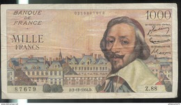 Billet 1000 Francs France Richelieu 2-12-1954 D Très Bon état - 1871-1952 Antichi Franchi Circolanti Nel XX Secolo