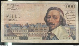 Billet 1000 Francs France Richelieu 5-1-1956 Très Bon état - 1871-1952 Circulated During XXth
