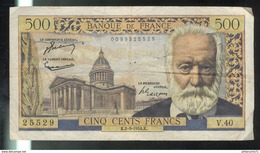 Billet 500 Francs Victor Hugo 2-9-54 K Très Bon état - 1871-1952 Circulated During XXth