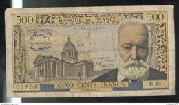 Billet 500 Francs Victor Hugo 2-9-54 S Bon état - 1871-1952 Anciens Francs Circulés Au XXème