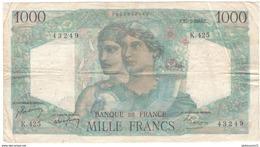 1000 Francs Minerve Et Hercule 27-5-48 TTB - 1871-1952 Anciens Francs Circulés Au XXème