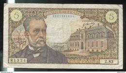 Billet 5 Francs France Pasteur 1-8-68 - 1962-1997 ''Francs''