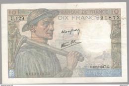 Billet 10 Francs France Mineur 9-1-1947 Très Bon état - 1871-1952 Circulated During XXth