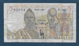 Banque Afrique Occidentale - BILLET De  5 F  Du  30 - 12 - 1949 - Billets