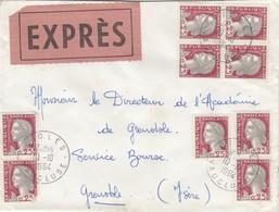 LETTRE.  10 10 64. EXPRES. DECARIS. 0,25 X 9. VAUCLUSE VIOLES POUR GRENOBLE.   / 3 - 1962-65 Cock Of Decaris