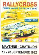 Programe RALLYCROSS Championnat De France 19 - 20 Sept 1992 Châtillon/Colmont MAYENNE Trophée ACUVUE - Racing