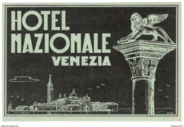 Carte Ancienne Hotel Nazionale Venezia - Venise - Plan Au Verso - 8 X 12 Cm - Etat Neuf - Autres