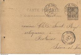 Marcophilie - Carte Postale 10 Centimes 1892 - De Chalon Gare à Fontaines - 1876-1898 Sage (Type II)
