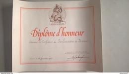 Diplôme D'Honneur Du Salon Des Métiers De Bouche Aux Poulardiers De Bresse - 1985 -  40 X 50 Cm - Dokumente
