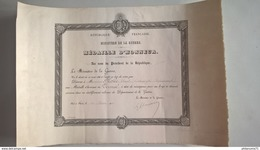 Diplôme Médaille D'Honneur De Vermeil Ministère De La Guerre - 1918 -  30,5 X 44,5 Cm - Dokumente