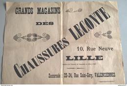 """Affiche """" Chaussures Leconte - Lille """" + BD Les Aventures De Peau De Navet - Image D'Epinal - Format 29 X 40 Cm - Autres"""