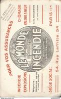 Buvard  Le Monde Incendie - Pour Vos Assurances - Tampon Ménard Chalon Sur Saone - Banco & Caja De Ahorros