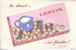 Buvard  Chocolat Lanvin Au Lait Noisettes - Un Aliment Une Friandise - Bon état - Chocolat