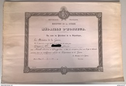 Diplôme Médaille D'Honneur Ministère De La Guerre - 1914 -  30,5 X 44,5 Cm - Dokumente