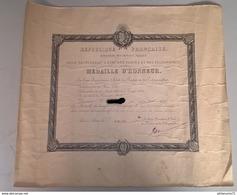 Diplôme Médaille D'Honneur Des Postes Et Télégraphes 1920 Au Facteur De Givry ( 71 ) -  34,5 X 41 Cm - Dokumente