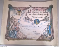 Diplôme Confrérie Des Chevaliers De Saint-Antoine - 1986 -  43 X 55 Cm - Dokumente