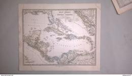 Carte Amérique Centrale - Editeur Justus Perthes  1876 - Stieler's Hand Atlas N° 87 - 38 X 45 Cm - Pas De Pli - Mapas Geográficas