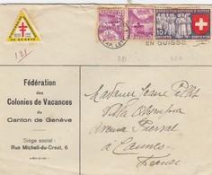 LETTRE. SUISSE. 15 4 39. FEDERATION DES COLONIES DE VACANCES DU CANTON DE GENEVE  / 4 - Schweiz