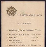 1905 Programa Musical Do Jantar De Gala REI D.CARLOS Oferecido Por MAURICE ROUVIER. VOYAGE Du ROI De PORTUGAL En FRANCE - Programmes
