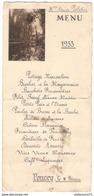 Menu Poncey - 11 Février 1933 - Menus