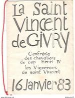 Menu Illustrée La Saint Vincent De Givry - 16 Janvier 1983 - Confrérie Des Chevaliers Du Cep Henri IV - Menus