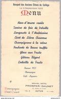 Menu Banquet Des Anciens Elèves Du Collège - 9 Septembre 1933 - Hotel Prosper-Gaunet Autun - Menus