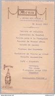 Menu Repas Des Vieux - 30 Avril 1961 - Restaurant Pageaud - Publicitaire Perrier - Menus