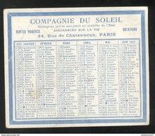 Calendrier Compagnie Du Soleil Assurances 1922 - 7 X 8,5 Cm - Calendriers