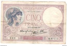 Billet 5 Francs France Violet 5-12-1940 TB - 1871-1952 Anciens Francs Circulés Au XXème
