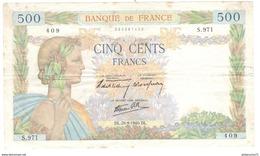 Billet De 500 Francs France La Paix 26-9-1940 - 500 F 1940-1944 ''La Paix''