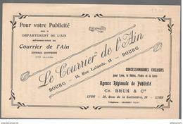 Feuillet Publicitaire Le Courrier De L'Ain - 105ème Année ( 1926 ) - Tarif De La Publicité - 13,5 X 21 Cm - Recto Verso - Autres