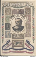 CPA Illustrée Fallières - Timbres - Liberté Egalité Fraternité - Circulée 1907 - People