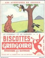 Buvard Biscottes Gringoire - Le Corbeau Et Le Renard N° 1 - Très Bon état - Chocolat