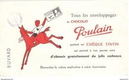 Buvard Chocolat Poulain - Tous Les Enveloppages Portent Un Chèque Tintin + Tampon épicerie Pons De Montecau - TBE - Chocolat