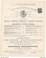 Programme Du Concours Régional  21 Au 29 Mai 1881 - Ville De Chalon Sur Saône - Très Bon état - Programmes
