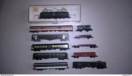 Lot Train Miniature Echelle N - 1 Locomotive Minitrix + 10 Wagons Fleischmann Roco Lima - Très Bon état - Autres Collections