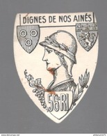 Badge De Journée Papier - 56ème RI Avec Blason De Chalon Sur Saône - Circa 1900 - Army & War