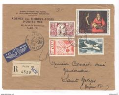 Marcophilie - Lettre Recommandée De Paris à St Georges ( Guyane Française ) 1966 - 1961-....