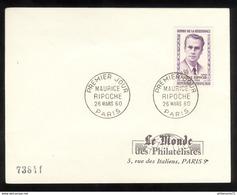 FDC France 1960 - Maurice Ripoche - Le Monde Des Philatélistes - 26/03/1960 - 1960-1969