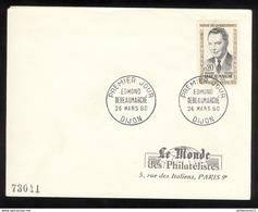 FDC France 1960 - Edmond Debeaumarché - Le Monde Des Philatélistes - 26/03/1960 - 1960-1969
