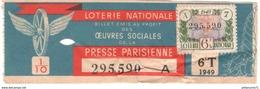 Billet De Loterie - 1/10ème Oeuvres Sociales De La Presse Parisienne - 6ème Tranche 1949 - Etat Moyen - Billets De Loterie