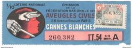 Billet De Loterie - 1/10ème Aveugles Civiles - Cannes Blanches - 1ère Tranche 1954 - Billets De Loterie