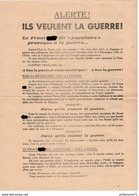 Propagande - Action Française - Alerte ! Ils Veulent La Guerre - Très Bon état - Autres