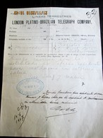 BRASIL -TELEGRAPH 1907 Rare TELEGRAM  Lineas Terrestres De La LONDON PLATINO-BRAZILIAN TELEGRAPH COMPANY Sent In URUGUAY - Documentos Históricos